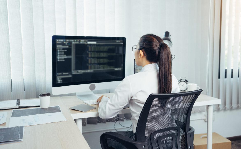 Asian woman professional development programming website working